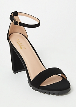 Black Single Strap Lug Heels