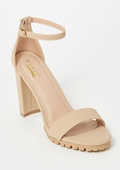 Nude Single Strap Lug Heels
