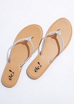 Silver Braided Flip Flops