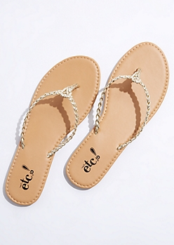 Gold Braided Flip Flops