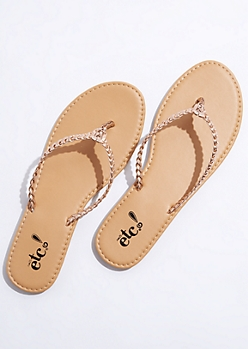 Rose Gold Braided Flip Flops