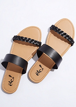 Black Braided Strap Sandals