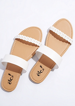 White Braided Strap Sandals