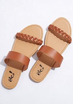 Cognac Braided Strap Sandals