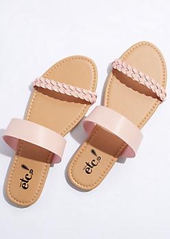 Pink Braided Strap Sandals