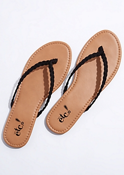 Black Braided Flip Flops
