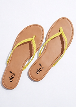 Yellow Braided Flip Flops