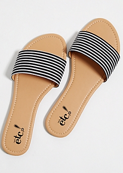 Striped Pattern Slide Sandals
