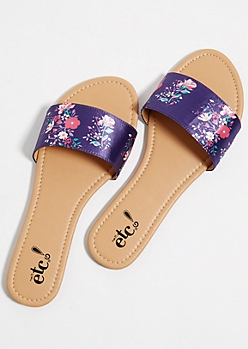 Purple Floral Print Slide Sandals