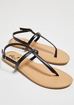 Black Minimal T Strap Sandals