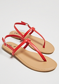 Red Minimal T Strap Sandals