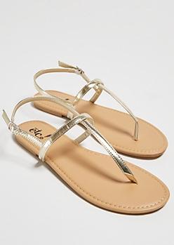 Gold Minimal T Strap Sandals