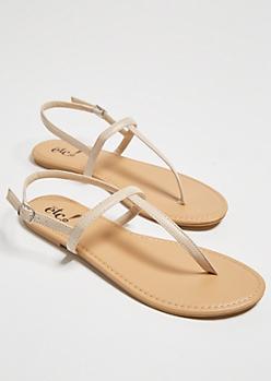 Light Tan Minimal T Strap Sandals