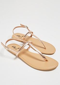 Rose Gold Minimal T Strap Sandals