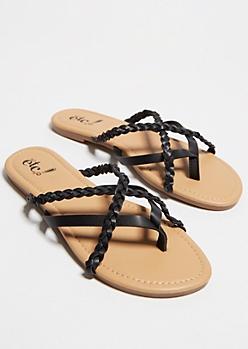 Black Crisscrossing Strap Flip Flops