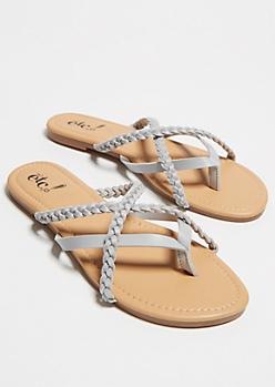 Gray Crisscross Strap Flip Flops