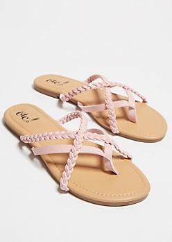 Pink Crisscrossing Strap Flip Flops