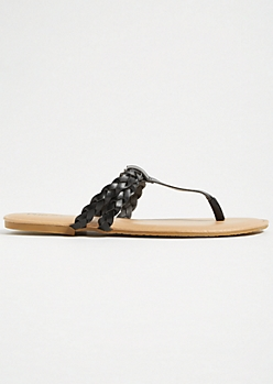 Black Braided Faux Leather Flip Flops