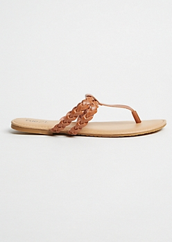 Cognac Braided Faux Leather Flip Flops