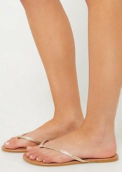 Gold Glitter Thong Sandals
