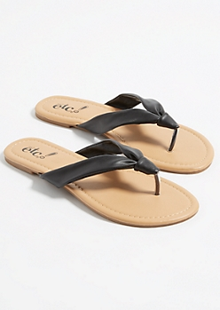 Black Knotted Soft Strap Flip Flops