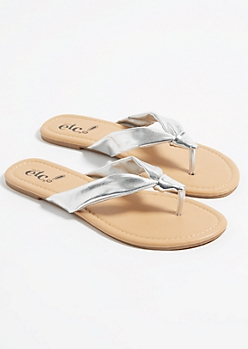 Silver Knotted Soft Strap Thong Sandals