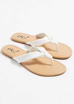 White Knotted Soft Strap Thong Sandals