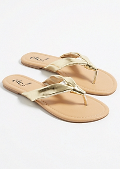 Gold Knotted Soft Strap Thong Sandals