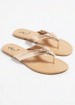 Rose Gold Knotted Soft Strap Flip Flops