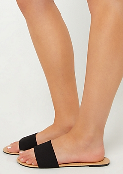 Black One Strap Faux Suede Sandals