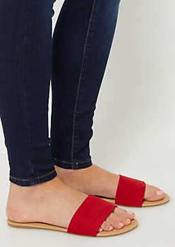 Red One Strap Faux Suede Sandals