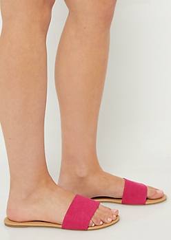Fuchsia One Strap Faux Suede Sandals