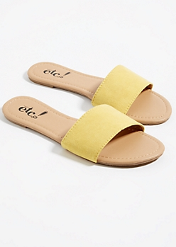 Yellow One Strap Faux Suede Sandals