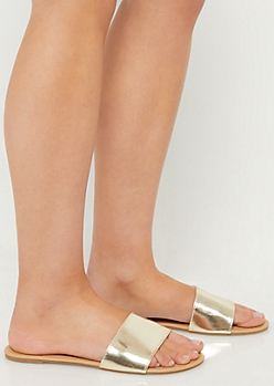 Gold One Strap Metallic Sandals