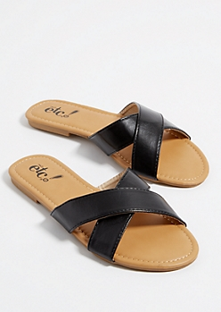Black Cross Strap Sandals