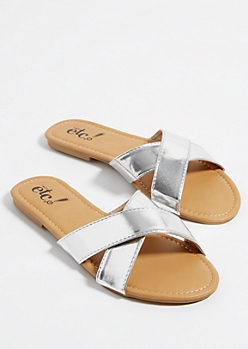 Silver Metallic Cross Strap Sandals