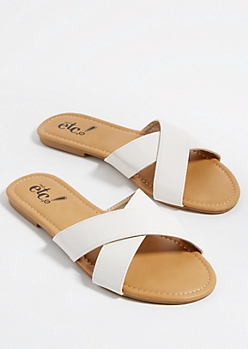 White Cross Strap Sandals