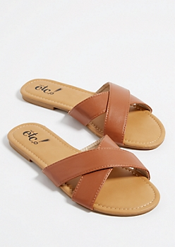 Cognac Cross Strap Sandals