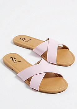 Light Pink Cross Strap Sandals
