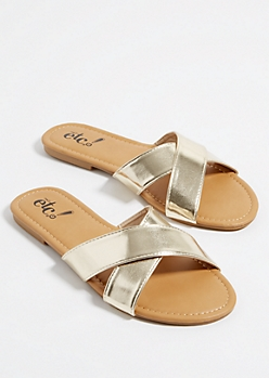Gold Metallic Cross Strap Sandals