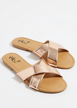 Rose Gold Metallic Cross Strap Sandals