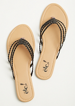 Black Three Strap Braided Flip Flops