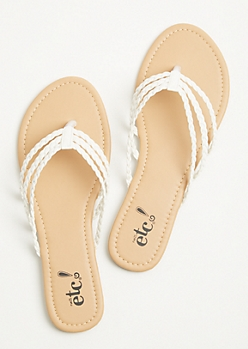 White Three Strap Braided Flip Flops