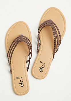 Brown Three Strap Braided Flip Flops