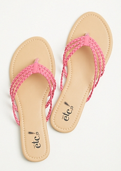 Fuchsia Three Strap Braided Flip Flops