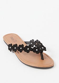 Black Daisy Studded Thong Flip Flops