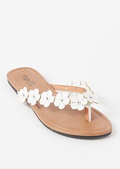 White Daisy Studded Thong Flip Flops