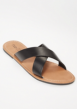 Black Crisscross Strap Slide Sandals