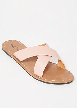 Pink Crisscross Strap Slide Sandals