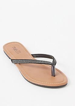 Black Rhinestone Studded Flip Flops
